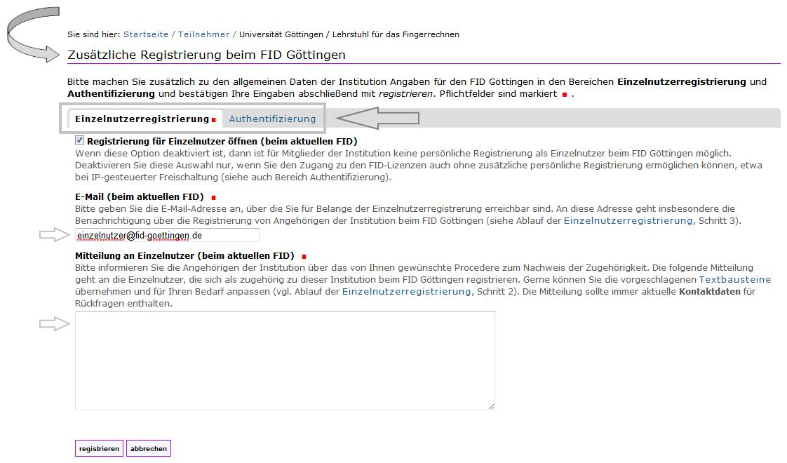 FID - Registrierung Institution - zusätzlich 2