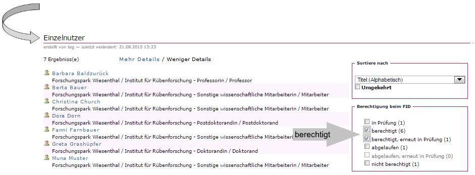 """Institution - Ueberblick über registrierte Mitglieder - Filterung """"berechtigt"""""""